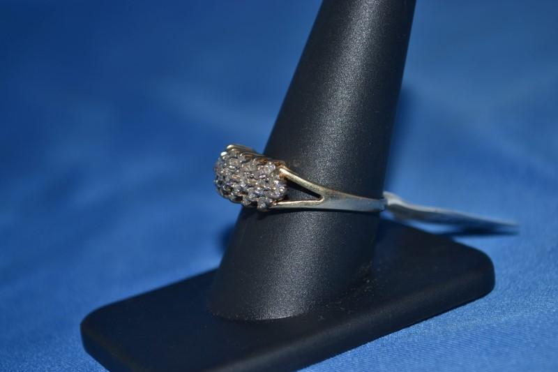 Lady's Diamond Cluster Ring 33 Diamonds .66 Carat T.W. 10K Yellow Gold 3.4g