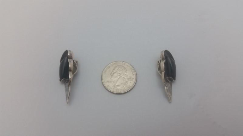Sterling Silver Black Onyx Angel Wings Clip On Earrings