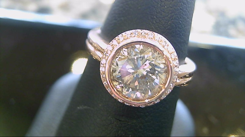 2.21 CTW Center Diamond Engagement Ring 14K Rose Gold 7.2g