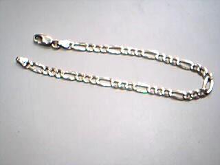 Gold Figaro Bracelet 14K Yellow Gold 5.2g
