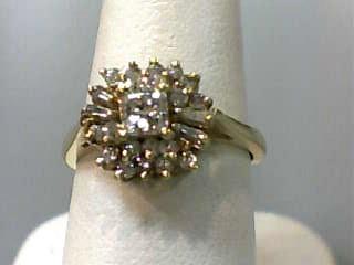 Lady's Diamond Cluster Ring 25 Diamonds .85 Carat T.W. 14K Yellow Gold 2.4dwt