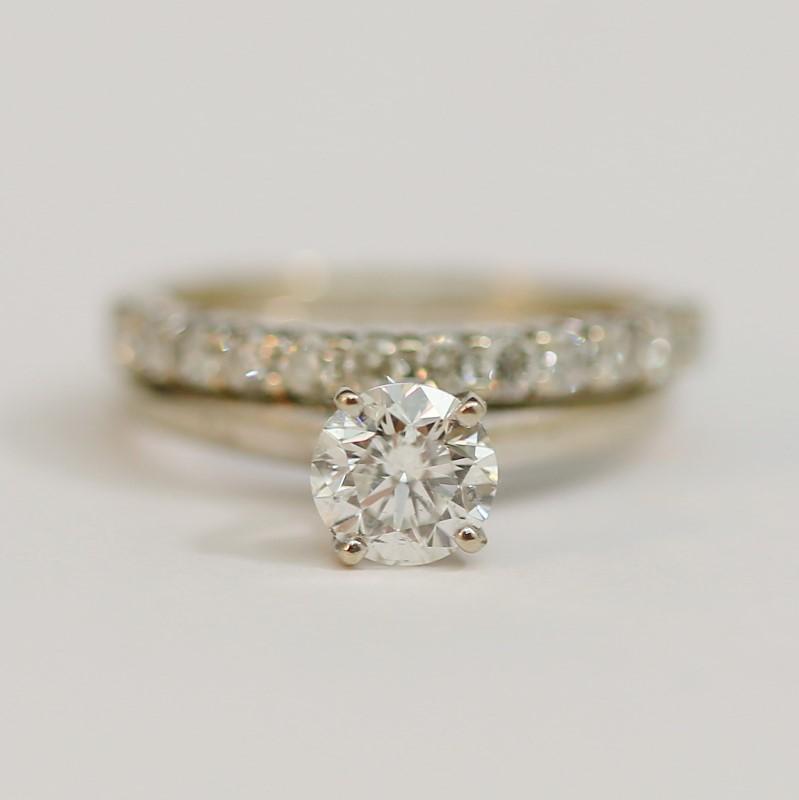 14K White Gold Round Brilliant Diamond Wedding RIng Set Size 7