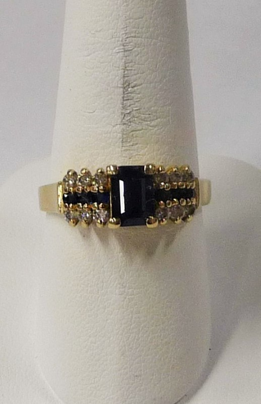 Synthetic Sapphire Lady's Stone & Diamond Ring 12 Diamonds .60 Carat T.W.