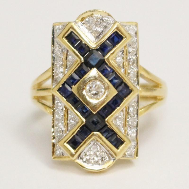 Vintage Inspired Art Deco 18K Y/G Saphire & Diamond Ring Size 6.25