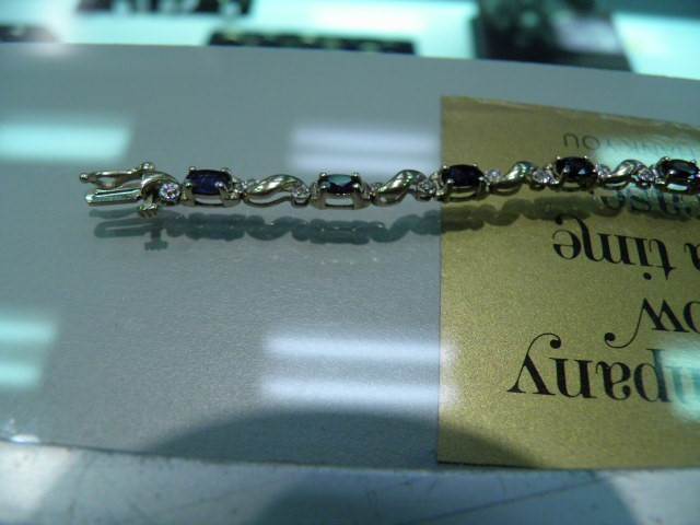 Blue Stone Gold-Diamond & Stone Bracelet 23 Diamonds .23 Carat T.W.