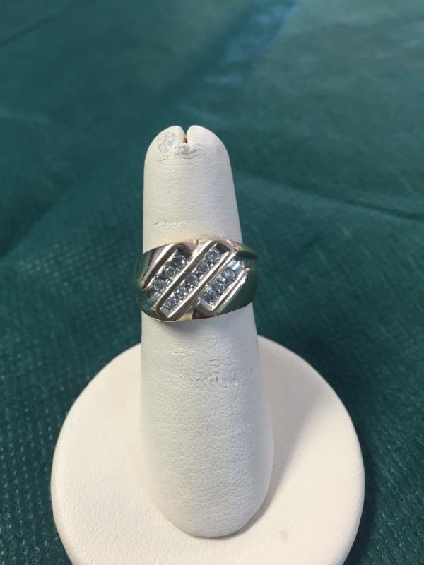 Gent's Diamond Fashion Ring 11 Diamonds .33 Carat T.W. 10K Yellow Gold 3.6g