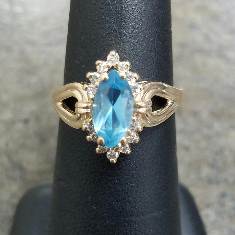 Synthetic Blue Topaz Lady's Stone & Diamond Ring 14 Diamonds .28 Carat T.W.