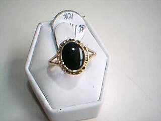 Synthetic Agate Lady's Stone Ring 14K Yellow Gold 2.2g Size:8