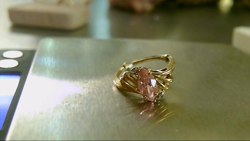 Synthetic Kunzite Lady's Stone & Diamond Ring 2 Diamonds .02 Carat T.W.