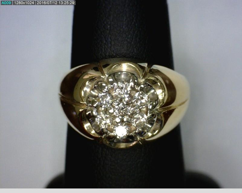Gent's Diamond Fashion Ring 7 Diamonds .42 Carat T.W. 14K Yellow Gold 6.29dwt