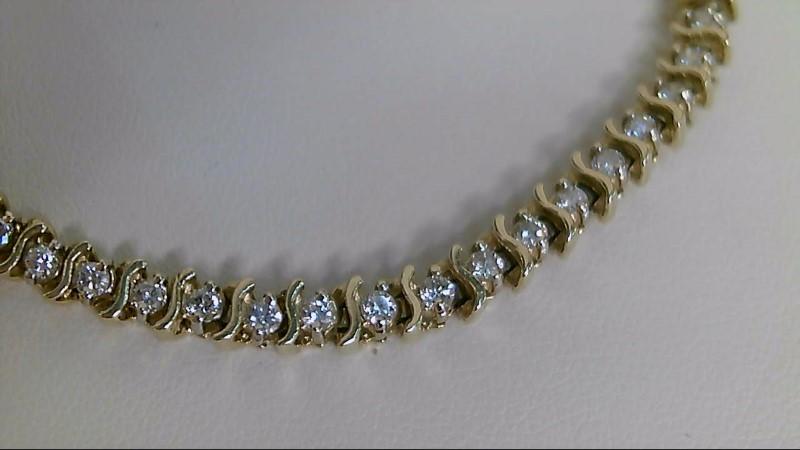 Gold-Diamond Bracelet 48 Diamonds 1.44 Carat T.W. 14K Yellow Gold 12.7g