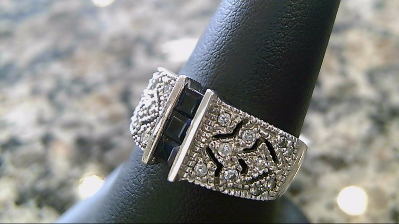 Sapphire Lady's Stone & Diamond Ring 14K White Gold