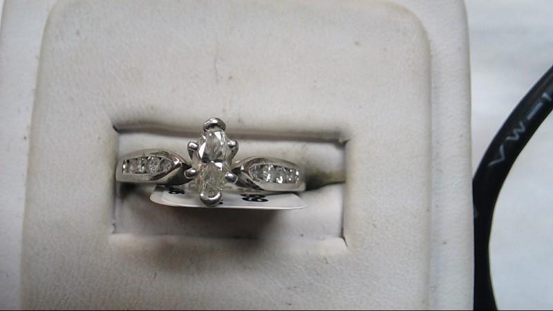 Lady's Diamond Engagement Ring 9 Diamonds .18 Carat T.W. 14K White Gold 4.7g