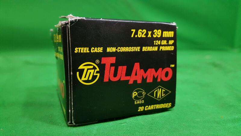 TULAMMO UL076211 CENTERFIRE RIFLE 7.62X39MM 124 GR HOLLOW POINT