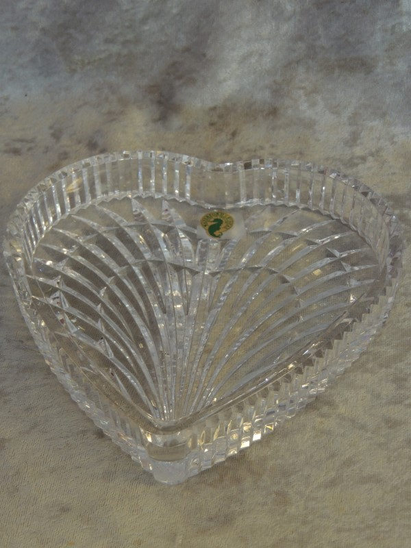 """WATERFORD Large Crystal Heart Shaped Dish Tray 7.5"""" 7 1/2"""" EUC"""