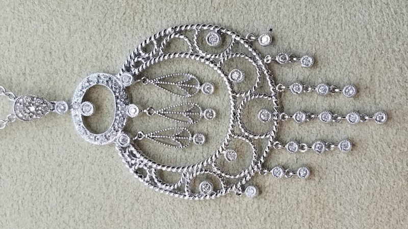 "18"" Diamond Necklace 58 Diamonds .58 Carat T.W. 18K White Gold 10.4g"