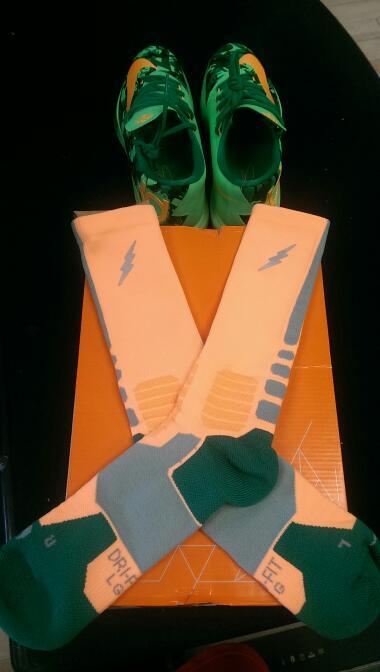 Nike 599424-303 2013 KD IV sz 9.5 Men's Basketball Shoes | GRN/ORG