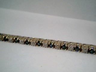 Synthetic Sapphire Gold-Diamond & Stone Bracelet 30 Diamonds .30 Carat T.W.