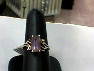 Synthetic Amethyst Lady's Stone & Diamond Ring 4 Diamonds .12 Carat T.W.