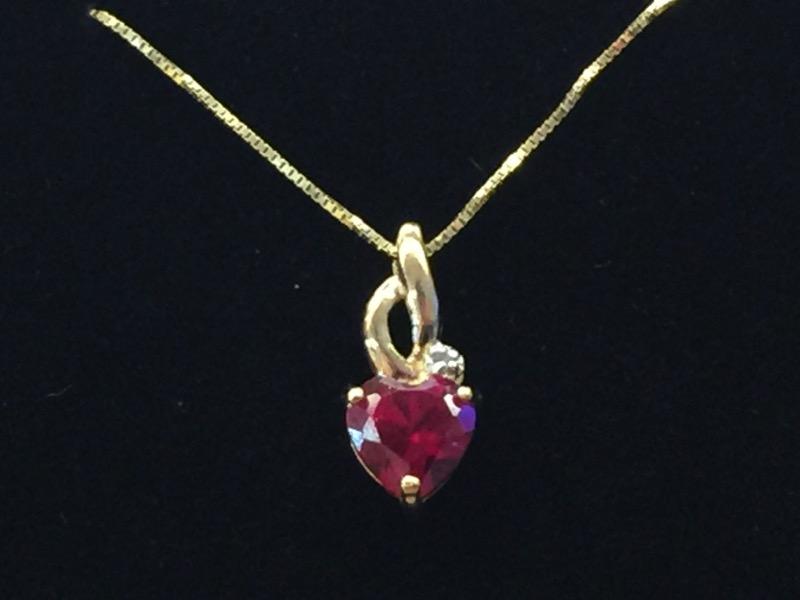 Red Stone Gold-Diamond & Stone Pendant .005 CT. 10K Yellow Gold 0.5dwt
