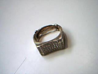 White Stone Gent's Stone Ring 10K Yellow Gold 5.5g