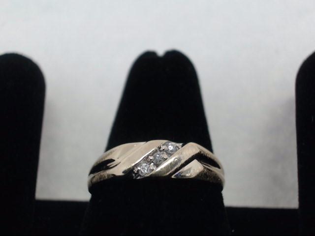 Gent's Diamond Fashion Ring 3 Diamonds .09 Carat T.W. 14K Yellow Gold 3.5g