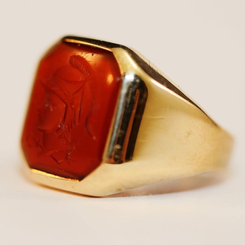 10K Yellow Gold Cabochon Cut Carnelian Roman Cameo Ring Size 8