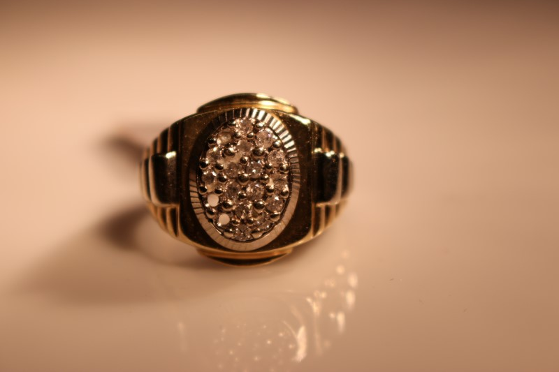 Gent's Diamond Cluster Ring 17 Diamonds .119 Carat T.W. 10K Yellow Gold 9.95g