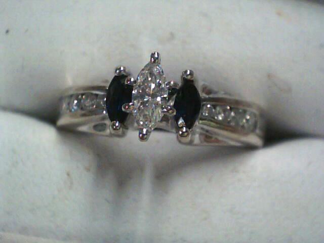 Synthetic Sapphire Lady's Stone & Diamond Ring 9 Diamonds .36 Carat T.W.