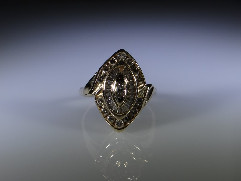 Gent's Diamond Cluster Ring 38 Diamonds .38 Carat T.W. 14K Yellow Gold 6.8g