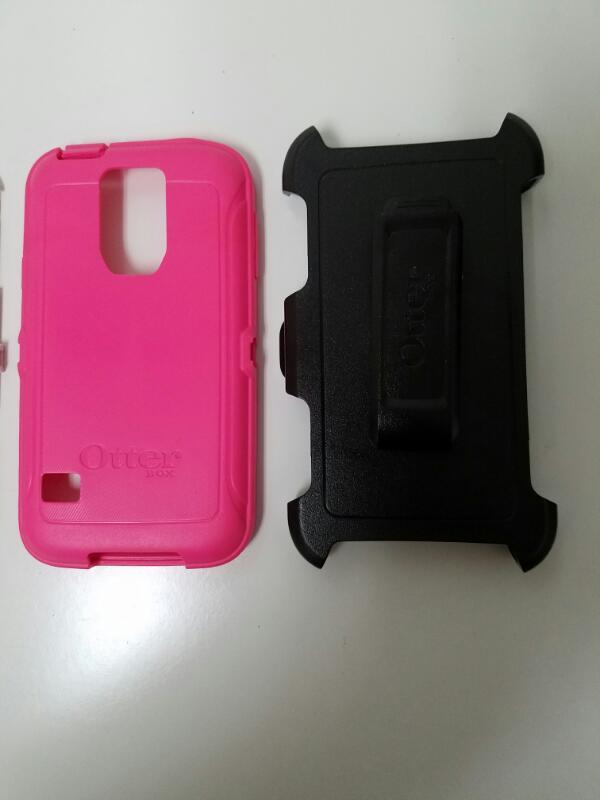 Otterbox Defender Series Blaze Pink & White Galaxy S5 Phone Case w/ Clip
