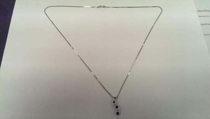 "20"" Sapphire Diamond & Stone Necklace 3 Diamonds .22 Carat T.W. 14K White Gold"