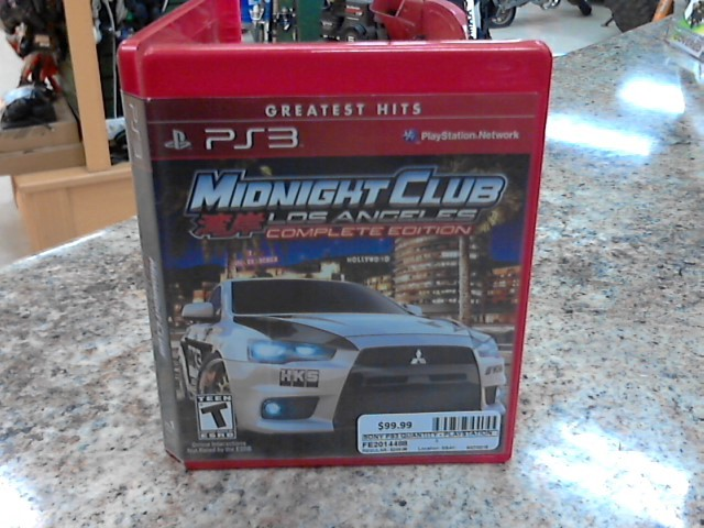 SONY Sony PlayStation 3 Game MIDNIGHT CLUB LOS ANGELES COMPLETE EDITION
