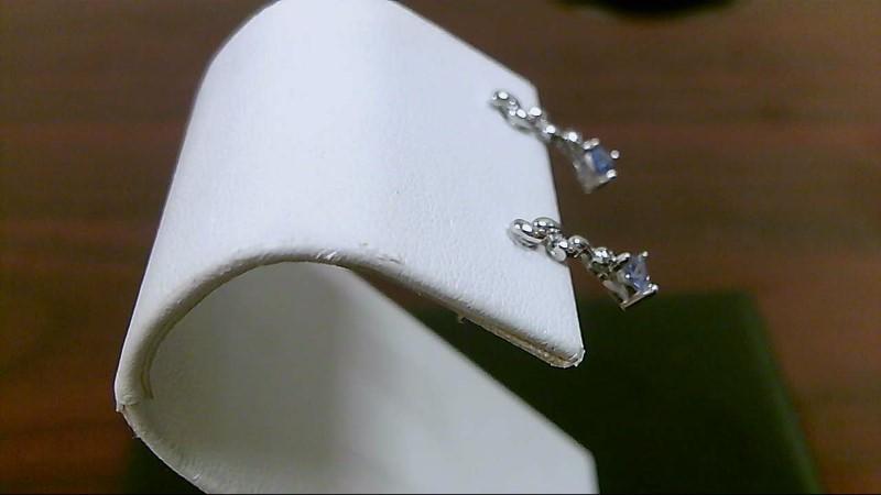 Tanzanite Gold-Stone Earrings 14K White Gold 1.3g