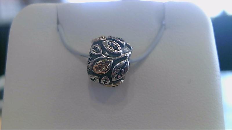Pandora Silver Charm 925 Silver 3.5g 14k yellow gold leaf bead