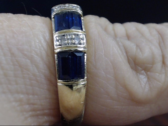 ESTATE SAPPHIRE DIAMOND ANNIVERSARY WED RING BAND REAL 10K GOLD SZ 7