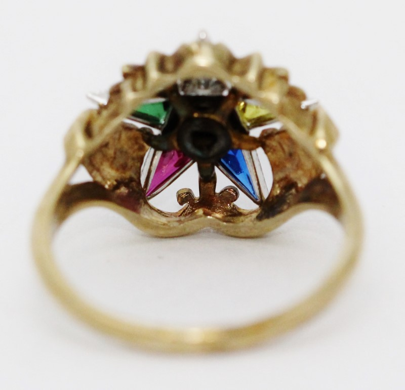 Vintage 10K Yellow Gold Women's Order Of The Eastern Star Brushed Satin Ring 6.7