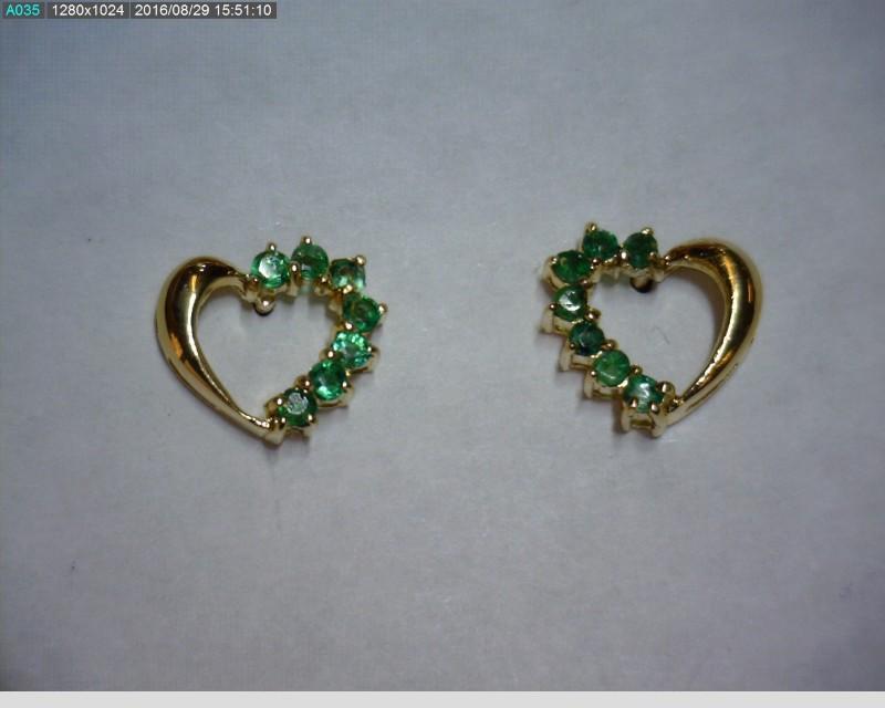Emerald Gold-Stone Earrings 14K Yellow Gold 0.62dwt