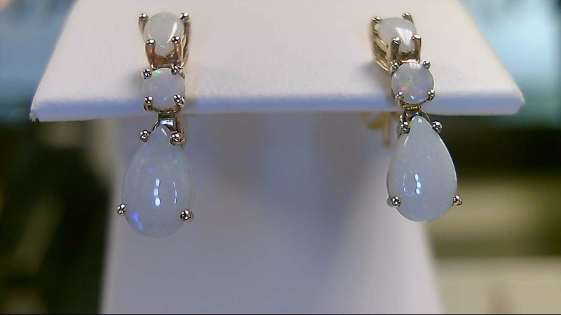 Lady's 10k yellow gold pear and round opal dangle earrings
