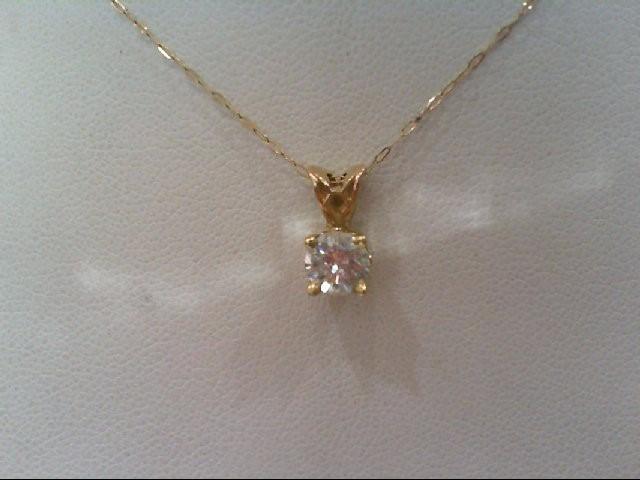 Gold-Diamond Solitaire Pendant .50 CT. 14K Yellow Gold 0.9g