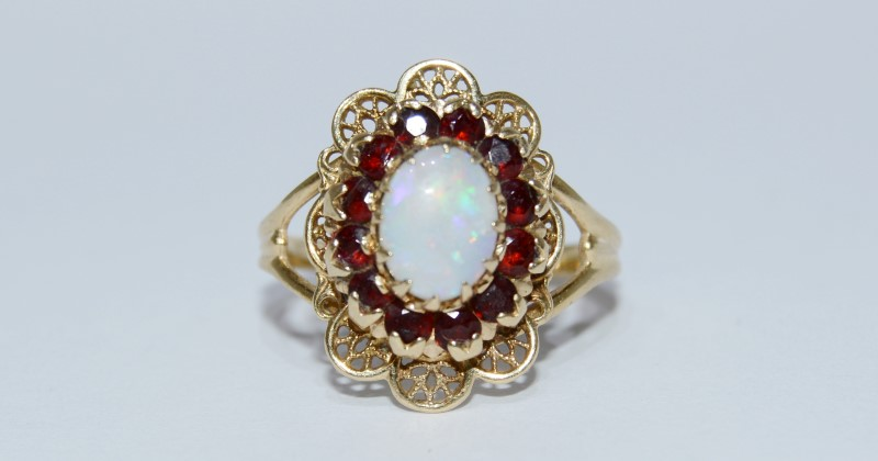 10K Yellow Gold Vintage Inspired Split Shank Opal & Garnet Halo Filigree Ring