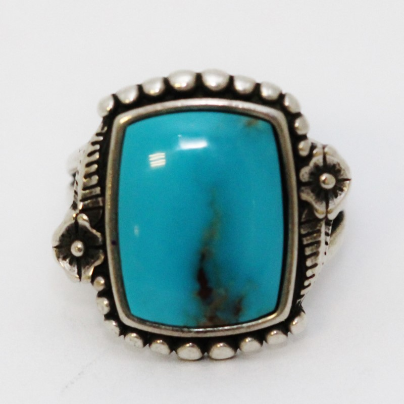 Rectangular Turquoise and Sterling Silver Statement Ring Size 7