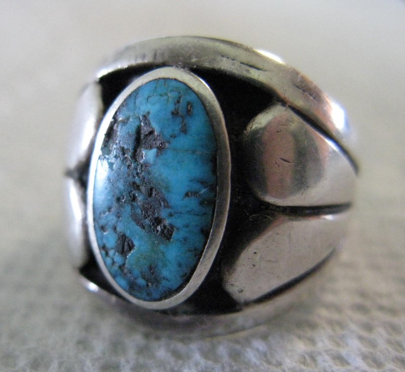 Heavy Sterling & Turquoise Gent's Ring 925 Silver 10.29dwt Size:13.5