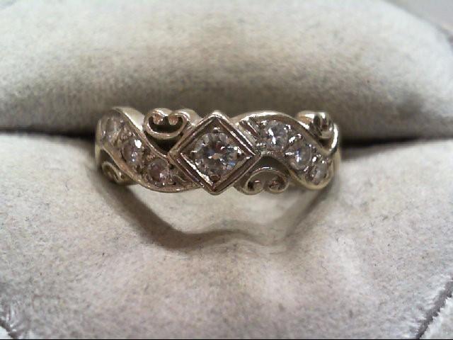 Lady's Diamond Wedding Band 7 Diamonds .53 Carat T.W. 14K White Gold 2.7g VINTAG