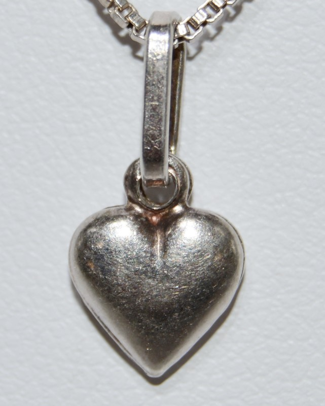 """19"""" Sterling Silver Dainty Puffy Heart Pendant Necklace w/ Italian Box Chain"""