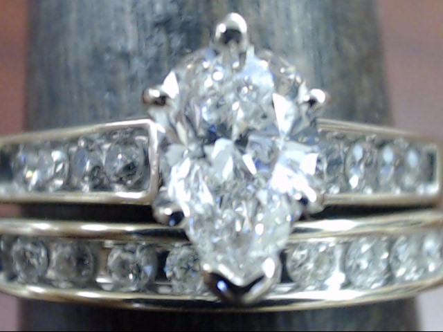 ESTATE PEAR CUT DIAMOND WEDDING SET RING BAND 14K WHITE GOLD SZ 6.25