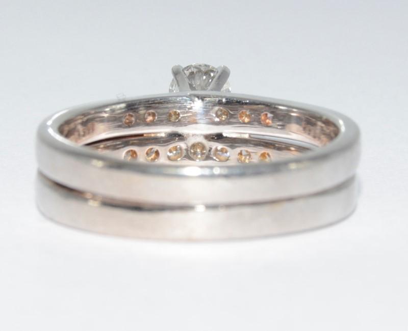 14K White Gold Round Brilliant Diamond Polished Wedding Ring Set siz 7.5