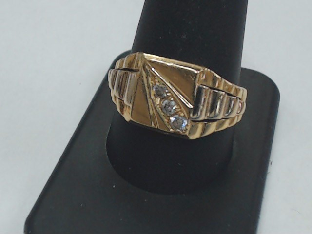 White Stone Gent's Stone Ring 18K Yellow Gold 7.5g Size:11.5