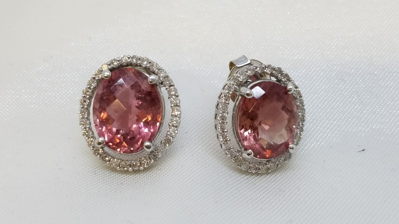 Pink Tourmaline Gold-Diamond & Stone Earrings 60 Diamonds .60 Carat T.W.