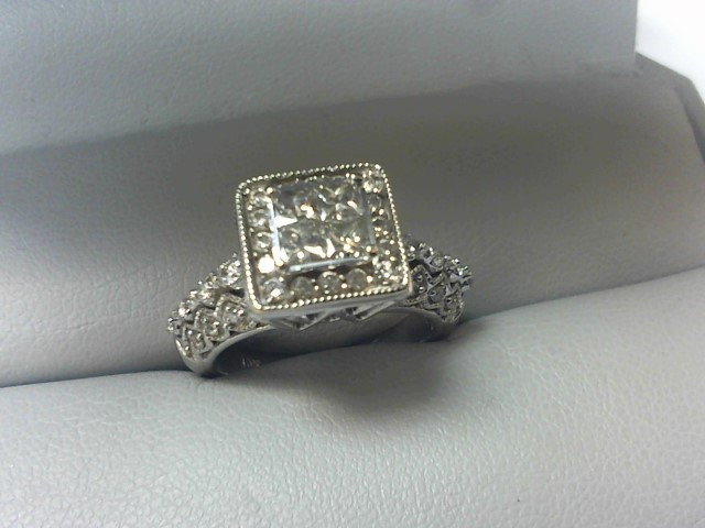 Lady's Diamond Fashion Ring 44 Diamonds .80 Carat T.W. 10K White Gold 6g Size:6